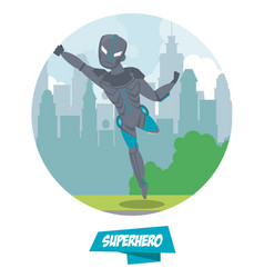 robotic superhero cartoon on city vector image