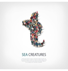 Sea creatures people 3d vector