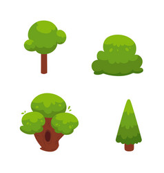 set of flat cartoon comic green summer trees vector image