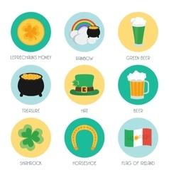 Set of flat icons on Patricks Day vector image vector image