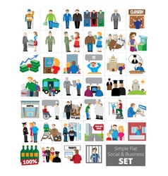 Simple flat social and business icon set vector