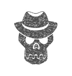 Skull in the hat grunge print for t-shirt vector
