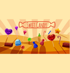 Sweets valley banner horizontal cartoon style vector