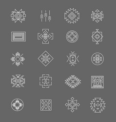 tribal american indian linear symbols line hand vector image
