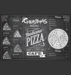 Vintage chalk drawing christmas pizza menu design vector