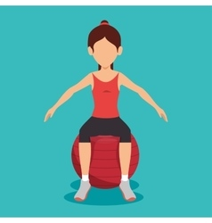 Woman sitting on sphere gym fitness vector