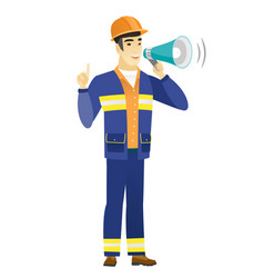 young asian builder making announcement vector image