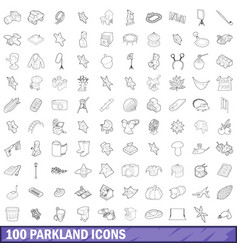 100 parkland icons set outline style vector image vector image