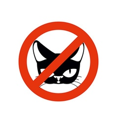 Stop cat pet forbidden frozen silhouette cat head vector