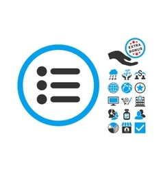 Items flat icon with bonus vector