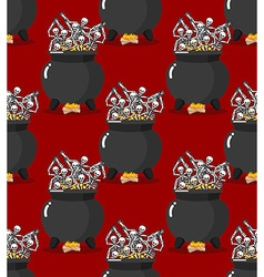 Sinners in pot in hell seamless pattern skeletons vector