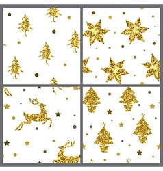 Set of golden glitter seamless patterns vector image