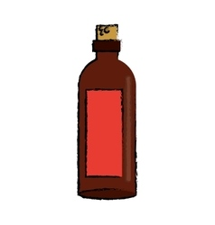 Drawing brown bottle wine with red label vector