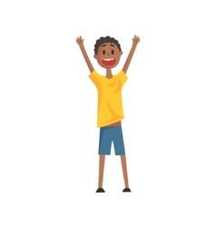 Happy smiling black boy screaming and cheering vector