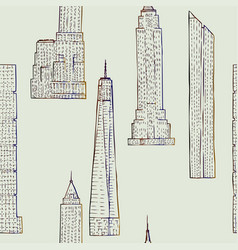 seamless pattern with skyscrapers vector image