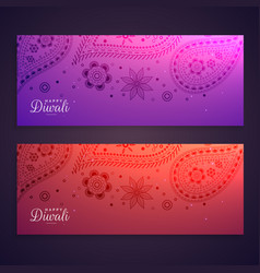 set of colorful happy diwali banners vector image