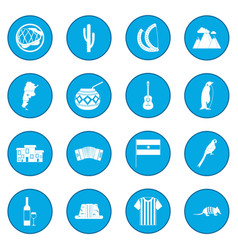 Argentina set icon blue vector