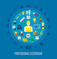 Professional electrician round design vector