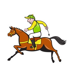 Cartoon jockey and horse racing side vector