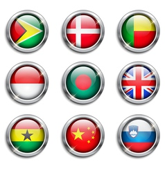 World flags round buttons vector