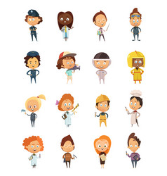 People professions cute cartoon icons vector