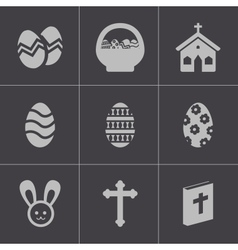 Black easter icons set vector