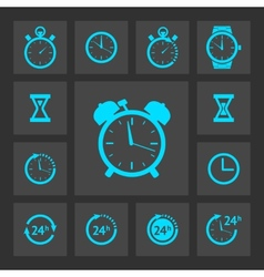 Blue clock icons set vector
