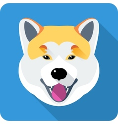 Dog akita inu japanese breed icon flat design vector