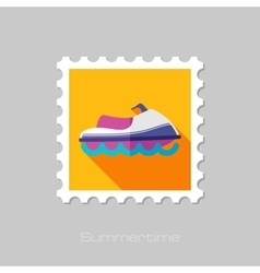 Jet ski flat stamp with long shadow vector