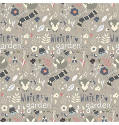 Seamless pattern with winter garden flowers foxes vector