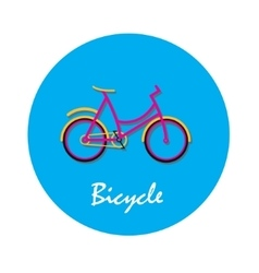 Bicycle flat icon in round shape vector