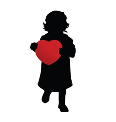 Child holding red heart silhouette vector
