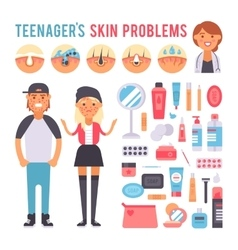 Facial care teenager people defects skin problems vector