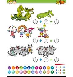 Addition task for preschool kids vector
