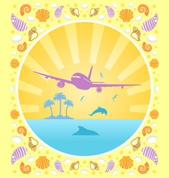Background summer card with plane vector