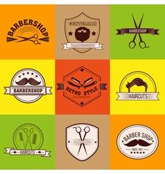 Barber shop logo set vintage style vector