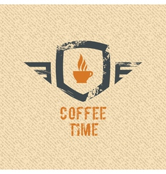 Coffee time label vector