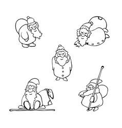 coloring book cartoon christmas set vector image