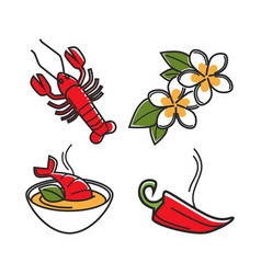 Cream soup with lobster vanilla flowers and chili vector