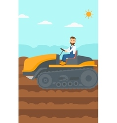 Farmer driving catepillar tractor vector
