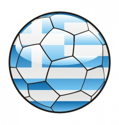 Flag of greece on soccer ball vector