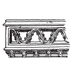 Gothic architecture parapet moulding crenelated vector
