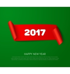 Happy new 2017 year paper roll banner with vector