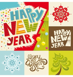 Happy New Year lettering greeting card vector image