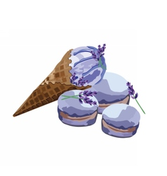 Ice cream delicious cone and macaroons vector image vector image