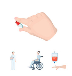 Invalid with trauma blood transfusion doctor vector