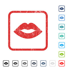 Lips icon rubber watermark vector