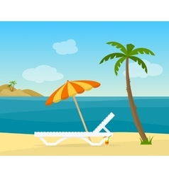 Lounge on the beach under a palm tree vector