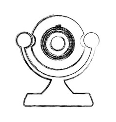 Monochrome sketch of desktop webcam vector