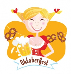 octoberfest Bavarian girl vector image